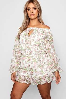 boohoo Plus Chiffon Floral Off Shoulder Playsuit