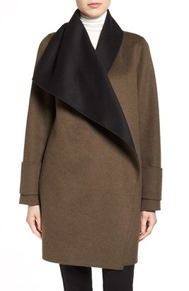 Women's Calvin Klein Double Face Drape Front Coat $285 thestylecure.com