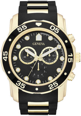 GENEVA Geneva Mens Black Strap Watch-Fmdjm579