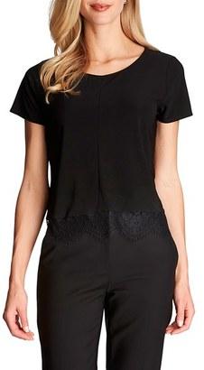 Women's Cece Lace Hem Knit Tee $59 thestylecure.com