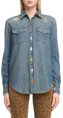 Saint Laurent Embroidered Western Denim Shirt