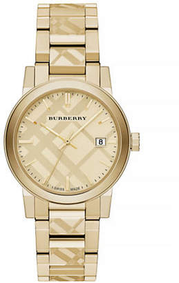 Burberry The City Goldtone Check Watch