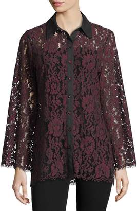 Neiman Marcus Sheer-Lace Button-Front Blouse