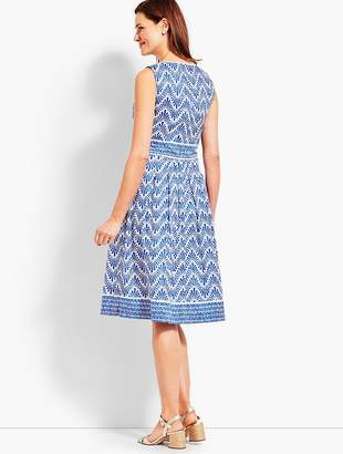 Talbots Geo Mixed-Print Fit-and-Flare Dress