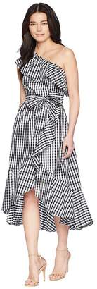 Adrianna Papell Petite Gingham One Shoulder High-Low Women's Dress