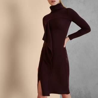 River Island Womens Burgundy RI Studio knit rib roll neck dress