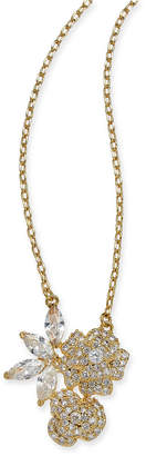 "Kate Spade Gold-Tone Crystal Flower Pendant Necklace, 15"" + 3"" extender"