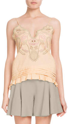 Chloé Sleeveless Thin-Strap Cotton Voile Top w/ Blossom Embroidery