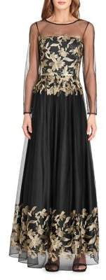Tahari Arthur S. Levine Embroidered Floor-Length Gown