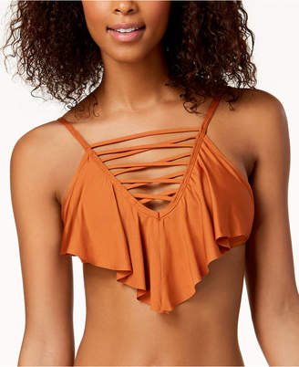 California Waves Strappy Flounce High-Neck Bikini Top, Created for Macy's Women's Swimsuit