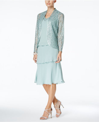 SL Fashions Tiered Dress and Lace Jacket $119 thestylecure.com