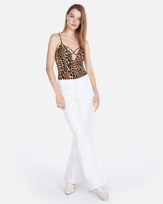 Express One Eleven Strappy Leopard Thong Bodysuit