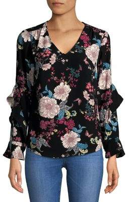 Context V-Neck Floral Ruffle Blouse