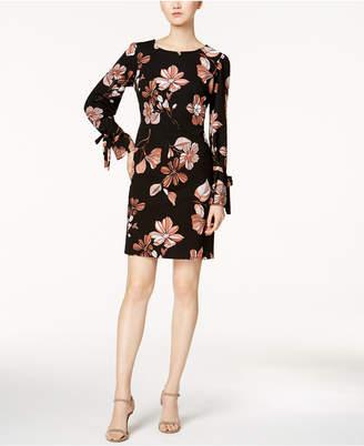 Nine West Floral Tie-Sleeve Shift Dress