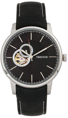 Heritor Automatic Landon Silver & Black Leather Watches 44mm