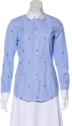 Brooks Brothers Embroidered Button-Up Top
