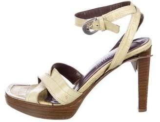 Donald J Pliner Embossed Ankle Strap Sandals