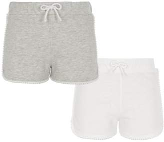 River Island Girls Grey and white runner shorts multipack