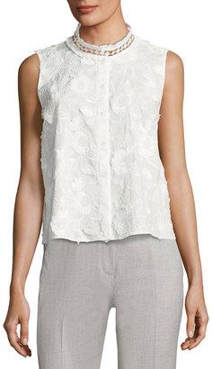 T Tahari Floral High-Neck Button-Front Blouse $69 thestylecure.com