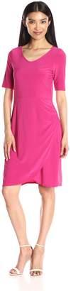 Star Vixen Women's Elbow Sleeve Side Rouch Skater-Waist Seam Short Dress