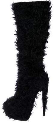 Christian Louboutin Faux Fur Platform Knee-High Boots