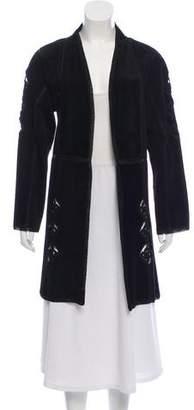 Adrienne Landau Crochet- Trim Suede Coat