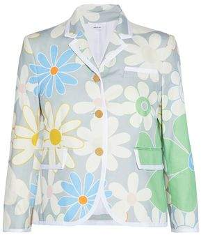 Thom Browne Floral-Print Cotton-Faille Blazer