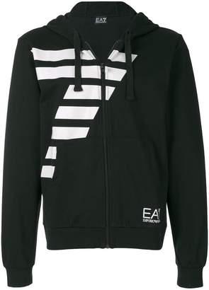 Emporio Armani Ea7 logo print zip-up hoodie