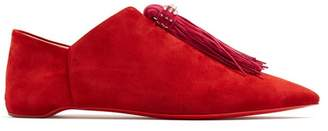 Christian Louboutin Mediana Suede Backless Slipper Shoes - Womens - Red Multi