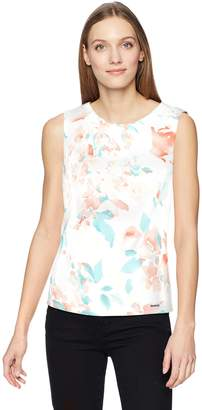 Calvin Klein Women's Printed Pleat Neck Cami, Peach Multi Floral, L