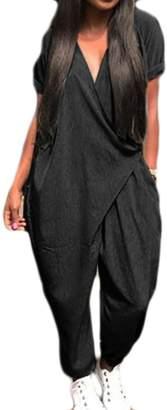 31a8311adce Frieed Women V Neck Wrap Short Sleeve Harem Pants Long Romper Jumpsuits XL