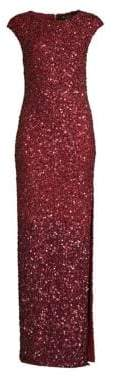 Alice + Olivia Jojo Cap Sleeve Sequin Gown