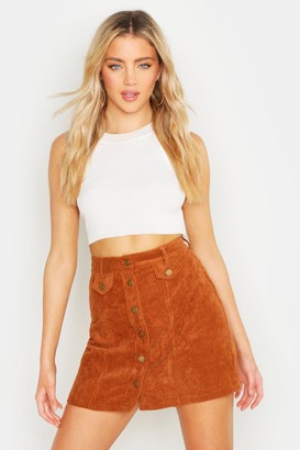 boohoo Brooklyn Button Front Chunky Cord Mini Skirt