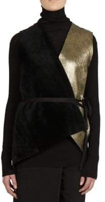 Ann Demeulemeester Leather Open-Front Vest