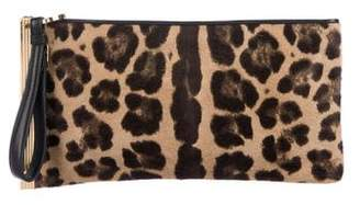 Herve Leger Leather-Trimmed Ponyhair Clutch