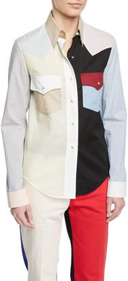 Colorblock Button-Down Long-Sleeve Cotton Western Shirt