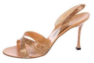 Manolo Blahnik Alligator Slingback Sandals