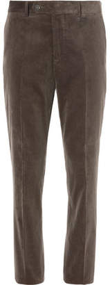 Brunello Cucinelli Army-green Sea Island Cotton-corduroy Suit Trousers - Brown