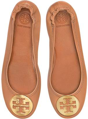 Tory Burch Royal Tan Nappa Leather Minnie Ballerinas w/Metal Logo
