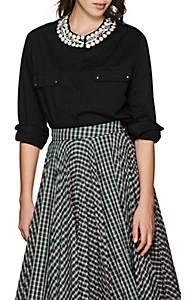 Couture Forte Dei Marmi Women's Honour Embellished Stretch-Cotton Blouse - Black