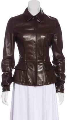 Dolce & Gabbana Button-Up Leather Jacket