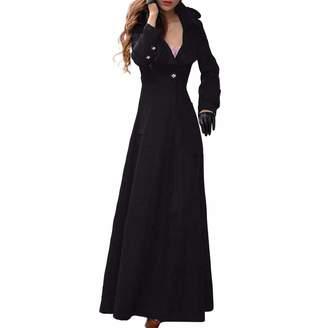 Srogem Womens Women's Wool Coat Fall Winter Long Maxi Jacket Slim Fit Outwear Coat (XXL, )
