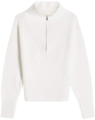 Jil Sander Navy Half Zip Wool Pullover