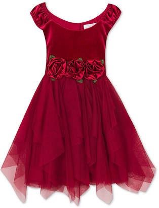 Rare Editions Toddler Girls Rose-Trim Velvet Dress