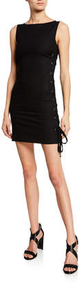 RED Valentino High-Neck Sleeveless Mini Dress w/ Lace-Up Sides