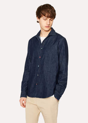 Paul Smith Men's Tailored-Fit Denim Shirt With Photo Button Detail