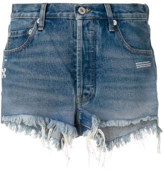 Off-White frayed jean shorts