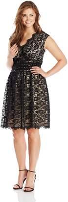 London Times Women's Plus-Size Cap Sleeve Shirred Waist Lace Full Skirt Dress, Black/Nude