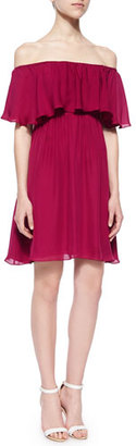 Alice + Olivia Dora Off-the-Shoulder Ruffle-Top Dress, Cranberry $368 thestylecure.com