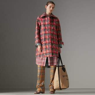 Burberry Scribble Check Bonded Cotton Car Coat